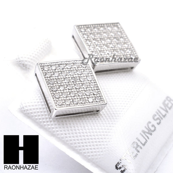 Sterling Silver .925 Lab Diamond 9mm Square Screw Back Earring SE006S - Raonhazae