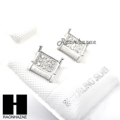 Iced Out Sterling Silver .925 Lab Diamond 6mm Square Push Back Earring SE007S - Raonhazae