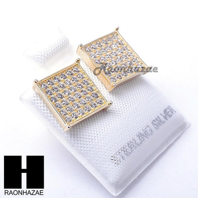 Sterling Silver .925 Lab Diamond 11mm Square Screw Back Earring SE008G - Raonhazae
