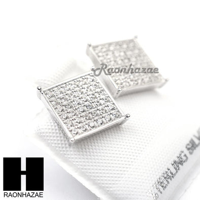 Sterling Silver .925 Lab Diamond 11mm Square Screw Back Earring SE008S - Raonhazae