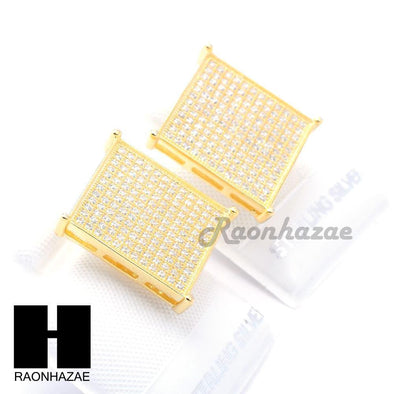 Sterling Silver .925 Lab Diamond 17mm Square Screw Back Earring SE009G - Raonhazae