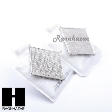 Sterling Silver .925 Lab Diamond 17mm Square Screw Back Earring SE009S - Raonhazae
