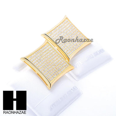 Iced Out Sterling Silver .925 Lab Diamond 19mm Square Screw Back Earring SE010G - Raonhazae