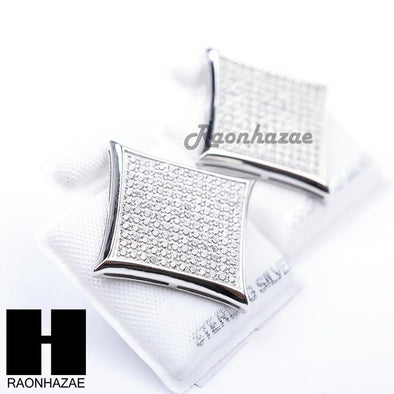 Iced Out Sterling Silver .925 Lab Diamond 19mm Square Screw Back Earring SE010S - Raonhazae