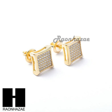 Iced Out Sterling Silver .925 Lab Diamond 10mm Square Screw Back Earring SE011G - Raonhazae