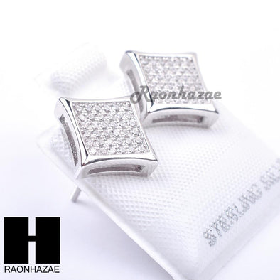 Iced Out Sterling Silver .925 Lab Diamond 10mm Square Screw Back Earring SE011S - Raonhazae