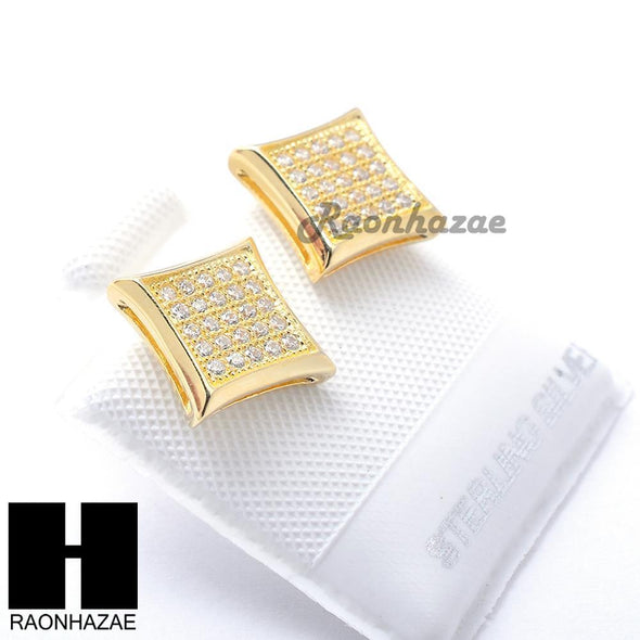 Iced Out Sterling Silver .925 Lab Diamond 9mm Square Push Back Earring SE012G - Raonhazae