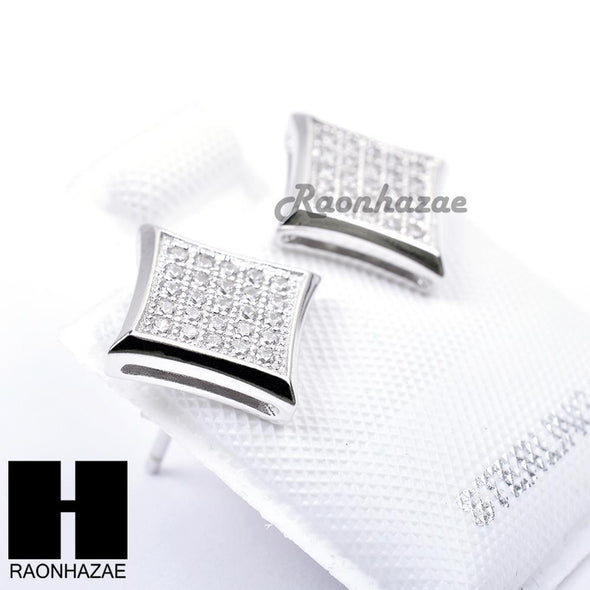Iced Out Sterling Silver .925 Lab Diamond 9mm Square Push Back Earring SE012S - Raonhazae