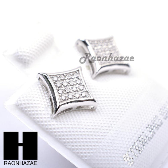 Sterling Silver .925 Lab Diamond 8mm Square Push Back Earring SE013S - Raonhazae