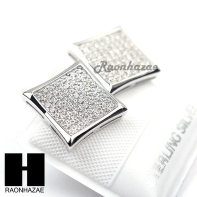 Iced Out Sterling Silver .925 Lab Diamond 12mm Square Screw Back Earring SE014S - Raonhazae