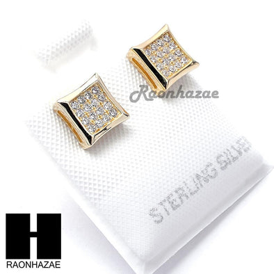 Iced Out Sterling Silver .925 Lab Diamond 7mm Square Push Back Earring SE015G - Raonhazae
