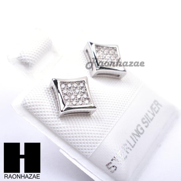 Sterling Silver .925 Lab Diamond 7mm Square Push Back Earring SE015S - Raonhazae