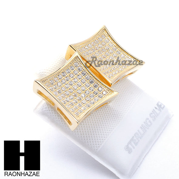 Iced Out Sterling Silver .925 Lab Diamond 13mm Square Push Back Earring SE016G - Raonhazae
