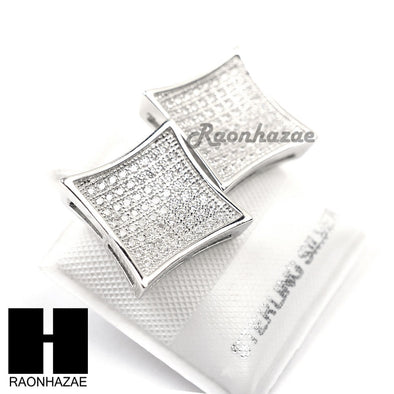 Iced Out Sterling Silver .925 Lab Diamond 13mm Square Screw Back Earring SE016S - Raonhazae