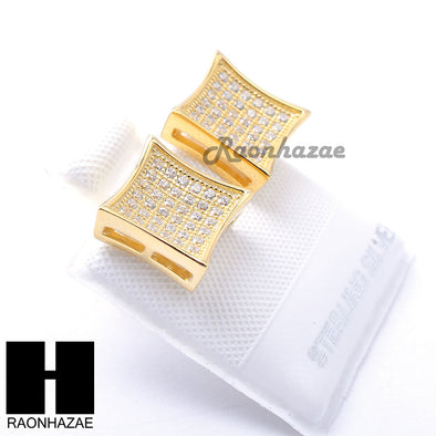 Iced Out Sterling Silver .925 Lab Diamond 10mm Square Screw Back Earring SE017G - Raonhazae