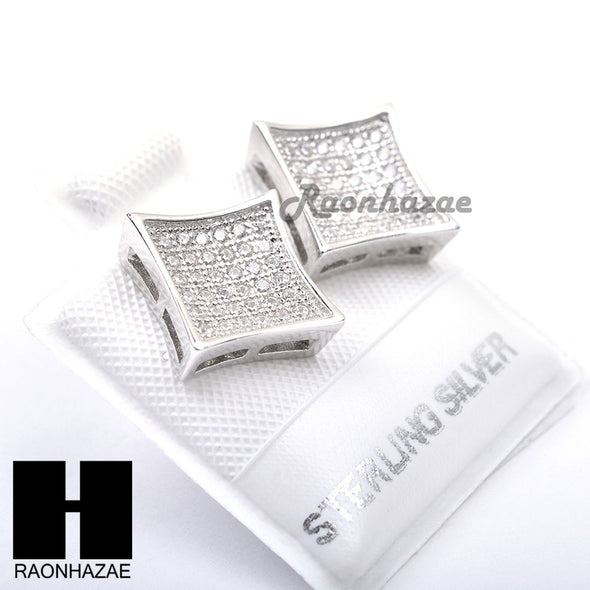 Iced Out Sterling Silver .925 Lab Diamond 10mm Square Screw Back Earring SE017S - Raonhazae