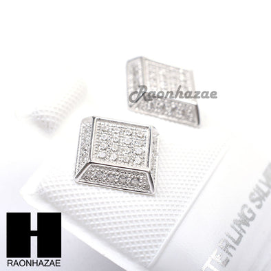 Sterling Silver .925 Lab Diamond 8mm Square Screw Back Earring SE018S - Raonhazae