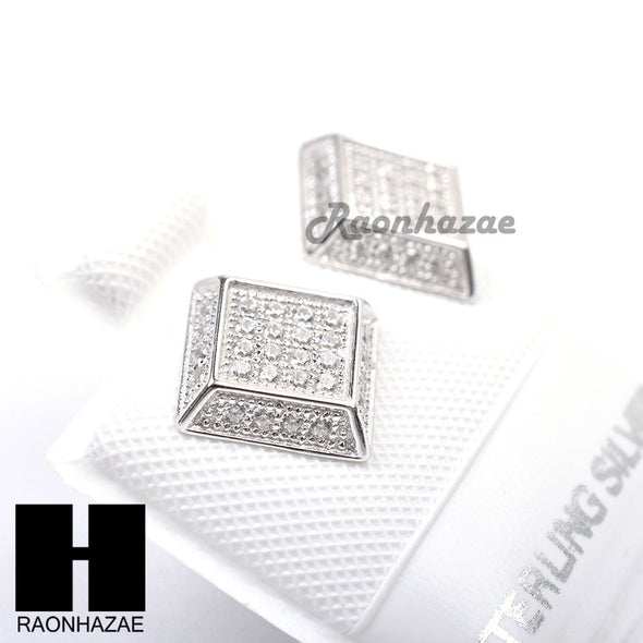 Iced Out Sterling Silver .925 Lab Diamond 8mm Square Screw Back Earring SE018S - Raonhazae