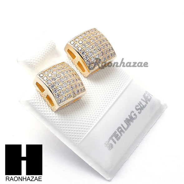Sterling Silver .925 Lab Diamond 8mm Square Screw Back Earring SE020G - Raonhazae