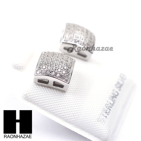 Iced Out Sterling Silver .925 Lab Diamond 8mm Square Screw Back Earring SE020S - Raonhazae