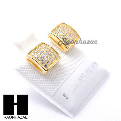 Iced Out Sterling Silver .925 Lab Diamond 8mm Square Push Back Earring SE021G - Raonhazae