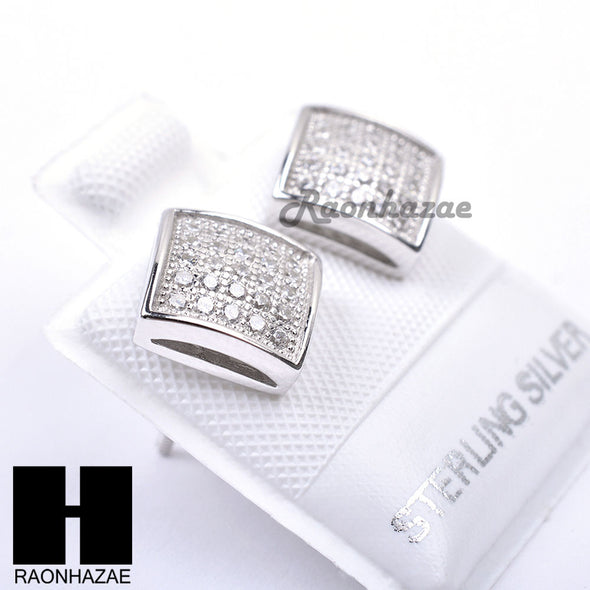 Sterling Silver .925 Lab Diamond 8mm Square Push Back Earring SE021S - Raonhazae