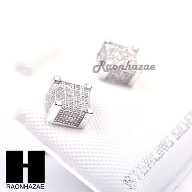 Iced Out Sterling Silver .925 Lab Diamond 6mm Square Push Back Earring SE024S - Raonhazae
