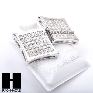 Sterling Silver .925 Lab Diamond 14mm Square Screw Back Earring SE025S - Raonhazae
