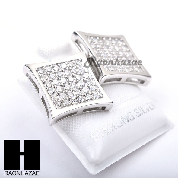 Iced Out Sterling Silver .925 Lab Diamond 14mm Square Screw Back Earring SE025S - Raonhazae