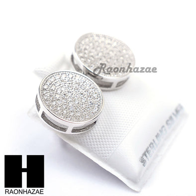 Sterling Silver .925 Lab Diamond 12mm Circle Screw Back Earring SE026S - Raonhazae