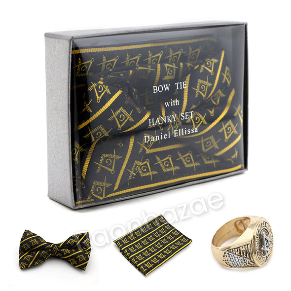 MENS MASONIC FREEMASON LODGE ATTIRE BOW TIE GOLD COMPASS HANKY SET W/ RING G1 - Raonhazae