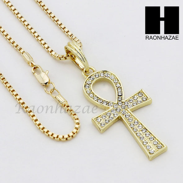 "ICED OUT RUBY ANKH PLUG PENDANT 24"" 30"" ROPE BOX CUBAN CHAIN NECKLACE SET S06 - Raonhazae"