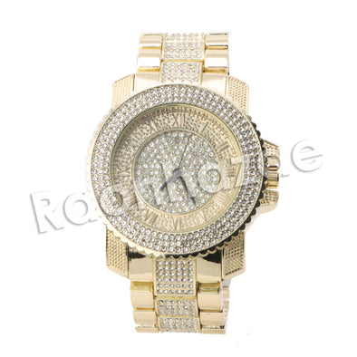 HIP HOP RAONHAZAE LION FACE LUXURY GOLD FINISHED LAB DIAMOND WATCH X6 - Raonhazae