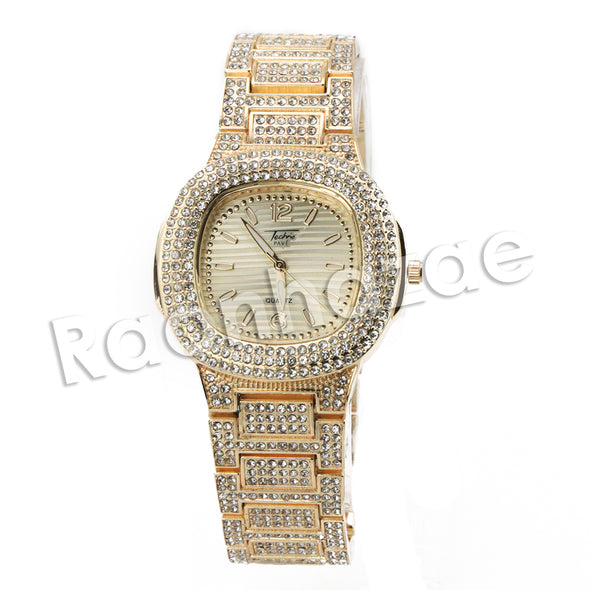 HIP HOP ICED OUT RAONHAZAE GOLD FINISHED LAB DIAMOND WATCH CUBAN CHAIN SET16 - Raonhazae