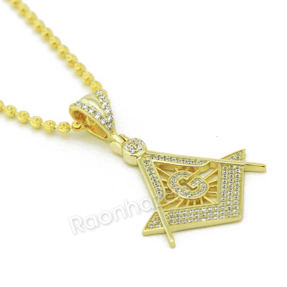 "Sterling Silver .925 AAA Lab Diamond Freemason w/2.5mm 20"" 24"" Moon Cut Chain 46 - Raonhazae"