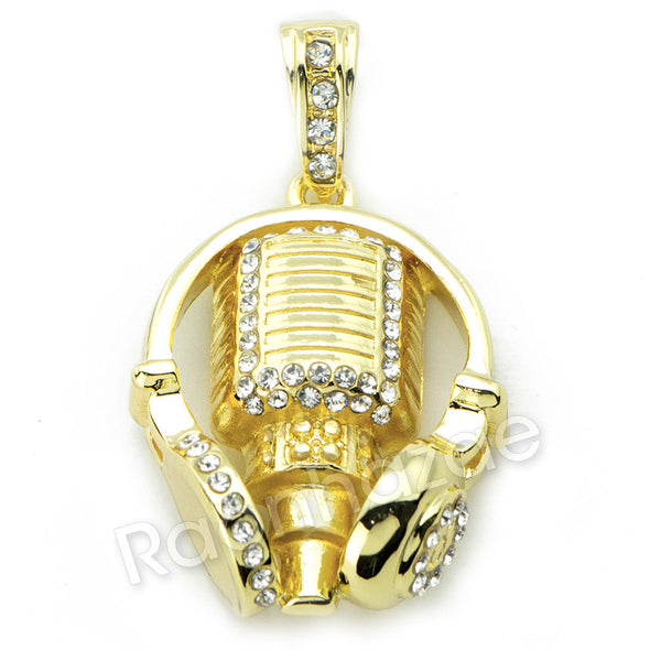 MIC & HEADPHONE CHARM ROPE CHAIN DIAMOND CUT CUBAN CHAIN NECKLACE G71 - Raonhazae