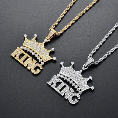 "Hip Hop King Crown Iced Pendant Stainess Steel 24"" Rope Chain Set"