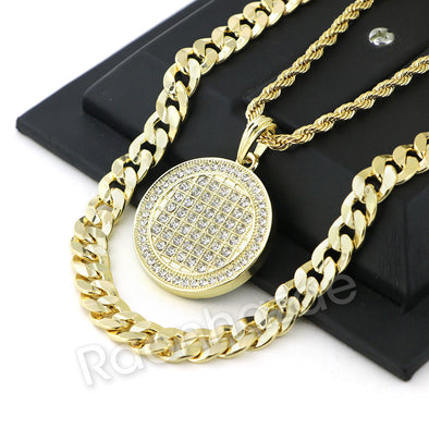 FULLY ICED OUT BLING ROUND CHARM ROPE CHAIN DIAMOND CUT CUBAN CHAIN NECKLACE G66 - Raonhazae