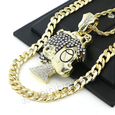 BIG LIL UZI CARTOON PAVE ROPE CHAIN DIAMOND CUT CUBAN CHAIN NECKLACE 60 - Raonhazae