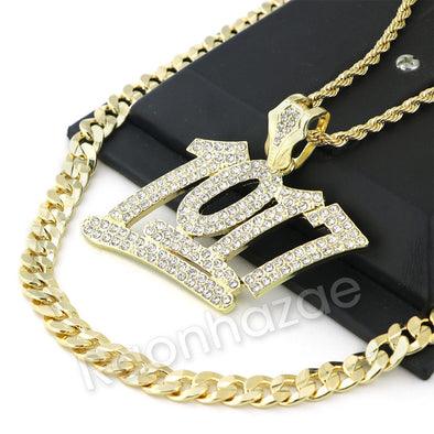 BIG NUMBER 1017 CHARM ROPE CHAIN DIAMOND CUT CUBAN CHAIN NECKLACE G61 - Raonhazae