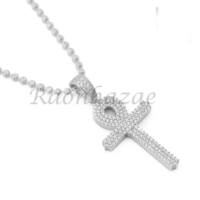 Sterling Silver .925 AAA Lab Diamond Bling Ankh Cross w/2.5mm Moon Cut Chain S53 - Raonhazae
