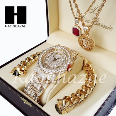 Gold PT Simulated Diamond Pave Watch Ruby QC Chain Cuban Bracelet Set O - Raonhazae