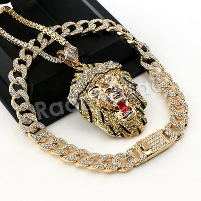 Hip Hop Quavo FEROCIOUS LION Miami Cuban Choker Tennis Chain Necklace L24 - Raonhazae
