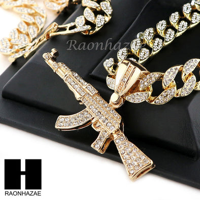 "Hip Hop 14k Gold Plated AK47 GUN Pave Pendant 30"" Iced Out Cuban Link Chain N09 - Raonhazae"