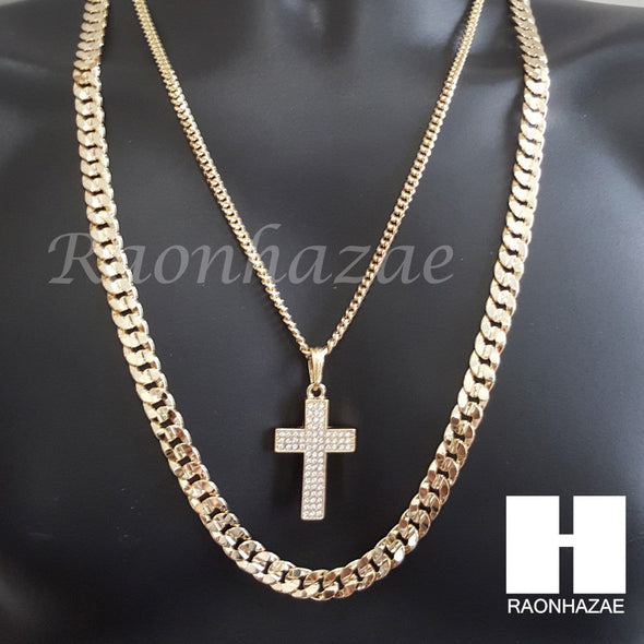 "MEN CROSS CUBAN CHAIN DIAMOND CUT 30"" CUBAN LINK CHAIN NECKLACE S065 - Raonhazae"