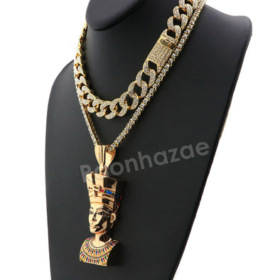 Hip Hop Iced Out Quavo Queen Nefertiti Miami Cuban Choker Chain Necklace L38 - Raonhazae
