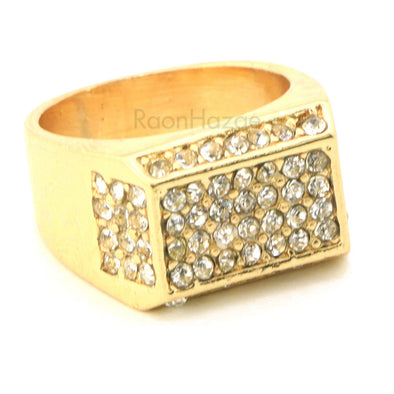 "HIP HOP ICED OUT FASHION ""LONZO"" GOLD PLATED RING BK008G - Raonhazae"