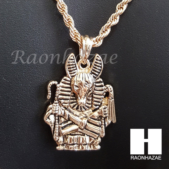 "ANCIENT EGYPT ANUBIS ROPE CHAIN DIAMOND CUT 30"" CUBAN LINK CHAIN NECKLACE S064 - Raonhazae"