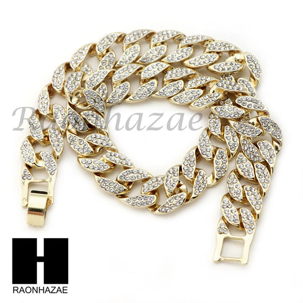 "MENS 14K GOLD PT BOXING GLOVES 18"" TENNIS CHAIN 16"" 30"" CHOKER CUBAN CHAIN S27G - Raonhazae"