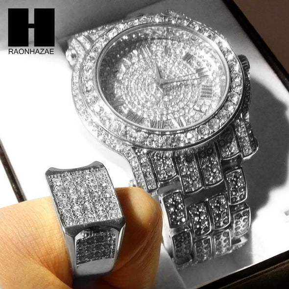 TECHNO PAVE ICED OUT WHITE GOLD FINISHED LAB DIAMOND WATCH and RING#2 SET TP12S - Raonhazae